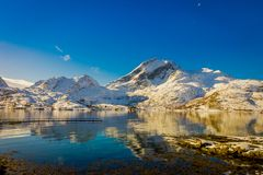Astonishing scenic view of mountain peaks and reflection in water on Lofoten islands in Norway. Scandinavia, Europe Stock Image