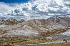 Astonishing Tibetan cloudy sky and high altitude snowy mountains Stock Photography