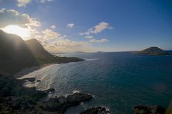 Astonishing view of the Makapu`u beach stock images