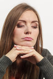 Astonishing woman catch on contemplating. Female contemplating serious matters. Astonishing beauty thinking about higher things Stock Photos