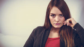 Astonishing woman catch on contemplating Royalty Free Stock Image