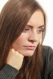 Astonishing woman catch on contemplating Stock Image