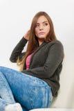 Astonishing woman catch on contemplating Stock Photo