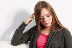 Astonishing woman catch on contemplating Royalty Free Stock Photos