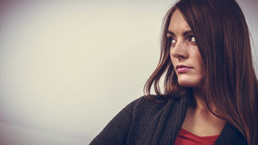 Astonishing woman catch on contemplating Royalty Free Stock Photography