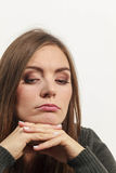 Astonishing woman catch on contemplating Stock Images