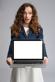 Astonishment woman with laptop Royalty Free Stock Photos