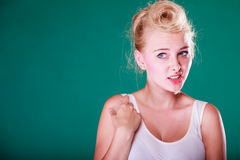 Astonishment young woman with pin up hair Stock Images