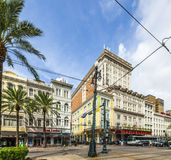 Astor Crowne Plaza Hotel at the crossing of Canal Street and Bourbon Street in New Orleans Stock Photo