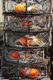 astoria螃蟹端口被堆积的陷井 免版税库存图片
