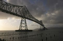 Astoria Bridge. Astroia Bridge between Washington and Oregon with strom clouds Stock Photo