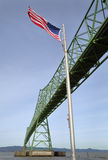 Astoria Bridge and Flag, Oregon Royalty Free Stock Photo