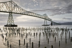Astoria bridge and waterfront. Bridge and waterfront nearby the Port of Astoria in the Oregon coast Stock Image