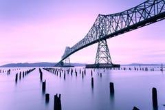 Astoria Megler桥梁、哥伦比亚河、华盛顿和俄勒冈 库存照片