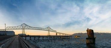 Astoria Megler Bridge by Riverwalk in Oregon coast Panorama Stock Photo