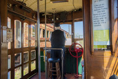 Astoria`s Waterfront Trolley Car Conductor Stock Images