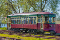 Astoria`s Waterfront Trolley Car. Astoria, Oregon,USA - April 7,2016:  Astoria`s waterfront can be seen from riding it`s full length in the trolley car Royalty Free Stock Images