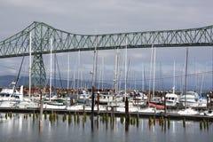 Astoria Town Marina. The view of Astoria town marina with Astoria-Megler Bridge behind Oregon Royalty Free Stock Photo