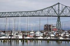 Astoria Town Marina. The view of Astoria town marina with Astoria-Megler Bridge over Columbia River Oregon Stock Photography