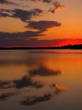 Astotin Sunset. A colorful sunset on Astotin Lake in Elk Island National Park, Alberta, Canada royalty free stock image