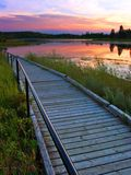 Astotin Walkway. A walkway extends along the shores of Astotin Lake, Alberta, Canada at sunset royalty free stock photos
