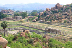 Astounding and huge Hampi  UNESCO World Heritage Site Karnataka. Ancient structures in Hampi, a stunning huge rock park and Archaeological site containing the Stock Photography