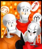 Astrólogos de los esqueletos ilustración del vector