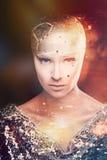 Astrônomo da menina Universo Luz misturada foto de stock royalty free