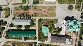 astra 易三仓礼拜堂和阿斯特拉罕克里姆林宫的钟楼 俄罗斯视图从上面 股票录像