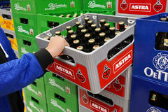 Astra beer crates in a Store Royalty Free Stock Photography