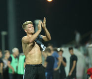 Astra Giurgiu vs. F.C. Copenhagen - UEFA Champions League 3rd qualifying round. Andreas Cornelius from F.C. Copenhagen applauds towards supporters at the end of Royalty Free Stock Photography