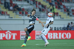 Astra Giurgiu vs. F.C. Copenhagen - UEFA Champions League 3rd qualifying round. Thomas Delaney ( L ) from F.C. Copenhagen vies for the ball with Fernando Boldrin Royalty Free Stock Images