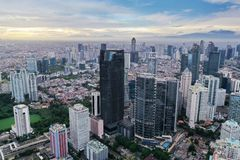 Astra tower with located in South Jakarta. JAKARTA - Indonesia. January 03, 2019: Aerial view of Astra tower with located in South Jakarta Central Business stock image