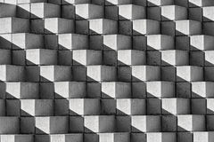 Astract Bricks and Shadows in Black and White Royalty Free Stock Photo