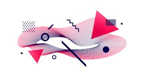 Astract design. Avant-garde style abstract illustration with guilloche waveform element. Vector astract design. Avant-garde style abstract illustration with Stock Photo