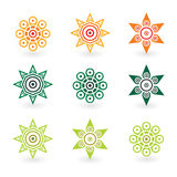 Astract flowers. Vector abstract flowers in orange and green color Royalty Free Stock Images