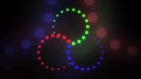 Astract red, green and blue cirles background. RGB, LED lighting or color blending concepts. 3D rendering. Astract red, green and blue rotating cirles background Stock Images