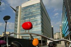Astraeneca HQ with Sculpture, London Royalty Free Stock Photo