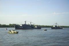 ASTRAKAN, RUSLAND 28 JULI 2018: De oorlogsschepen van de Kaspische Vloot stock afbeeldingen