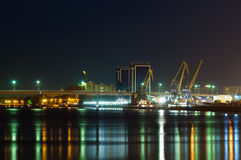 Astrakhan harbour at night Royalty Free Stock Photos