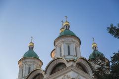 Astrakhan Kremlin church with blue sky in Russia Royalty Free Stock Photography