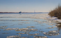 Astrakhan the river in the city. Spring on the Volga River, the ice melts. Astrakhan. Russia royalty free stock images