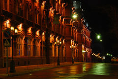 Astrakhan street. Night view of Astrakhan center Royalty Free Stock Image