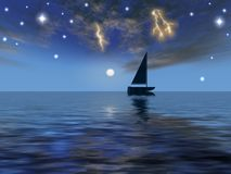 Astral. Sky and boat,boat and sea,night and thunder,ripple and boat Stock Photos