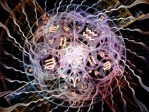Acceleration of Symbolic Meaning. Astral Connection series. Composition of Zodiac and fractal geometry symbols on the subject of magic, sacred, occult and Stock Photo