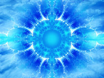 Astral energy. A beautiful blue mystical illustration of abstract energy of astral space on cloudy sky background Vector Illustration
