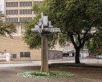 Astral Flower by Jose Luis Sanchez in downtown Dallas, Texas. Pictured is a sculpture titled `Astral Flower` by Jose Luis Sanchez in downtown Dallas, Texas.  t stock image