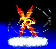 The  astral inferno x-factor. Abstract fiery composition in x form Royalty Free Stock Image