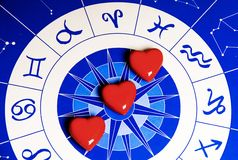 Astral love. Astrological background with signs and constellation and red hearts shapes in the center Stock Photo