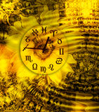 Astral time. Astrological clock on a yellow backgrounds with sunflowers and water ripples vector illustration